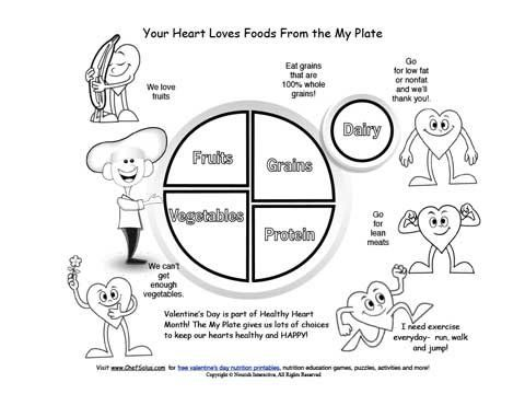 Fun Kids' My Plate Valentine's Day Healthy Hearts Coloring