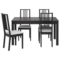 Ikea Wooden Dining Table 4 Chairs Easy Clean High Chair Bjursta BÖrje And Brown Black Gobo White