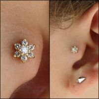 Diamond Tragus Earrings Beautiful Triple Tragus Piercing