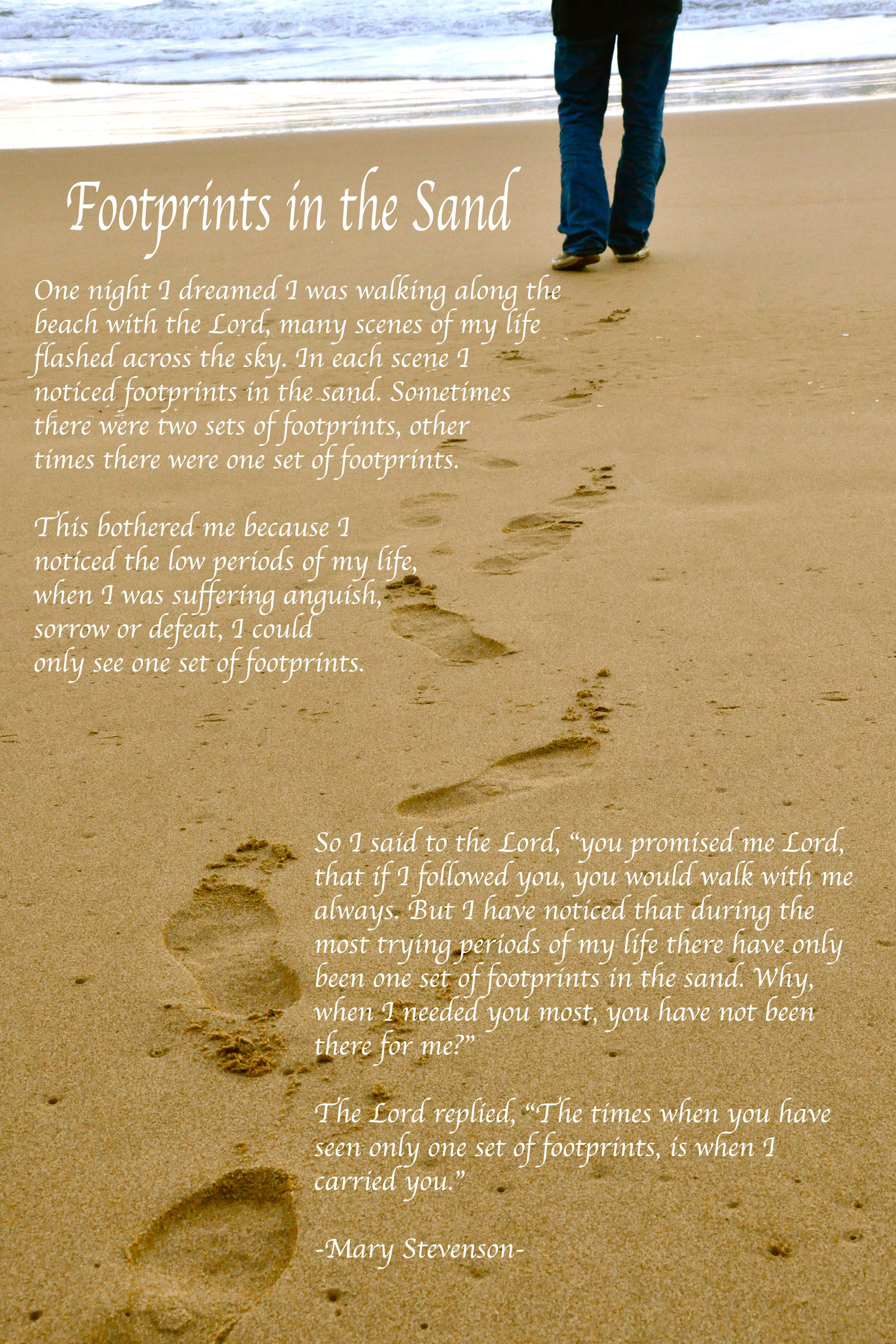 image regarding Footprints in the Sand Printable titled Footprints inside the sand bible verse