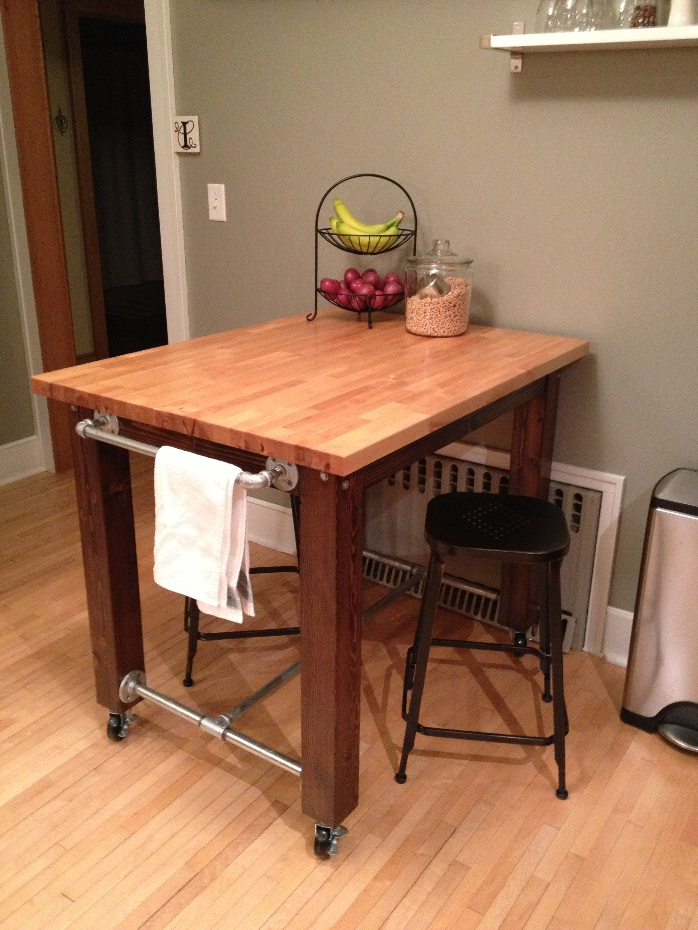 kitchen table tops decorating cabinets island we built from scratch 4x4s a little stain
