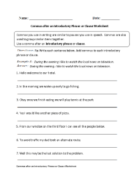 Commas after Introductory Phrase or Clause Worksheet ...