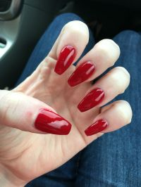 Red Coffin Nails #Nails #Gel-nails #Coffin-shaped | Nails ...