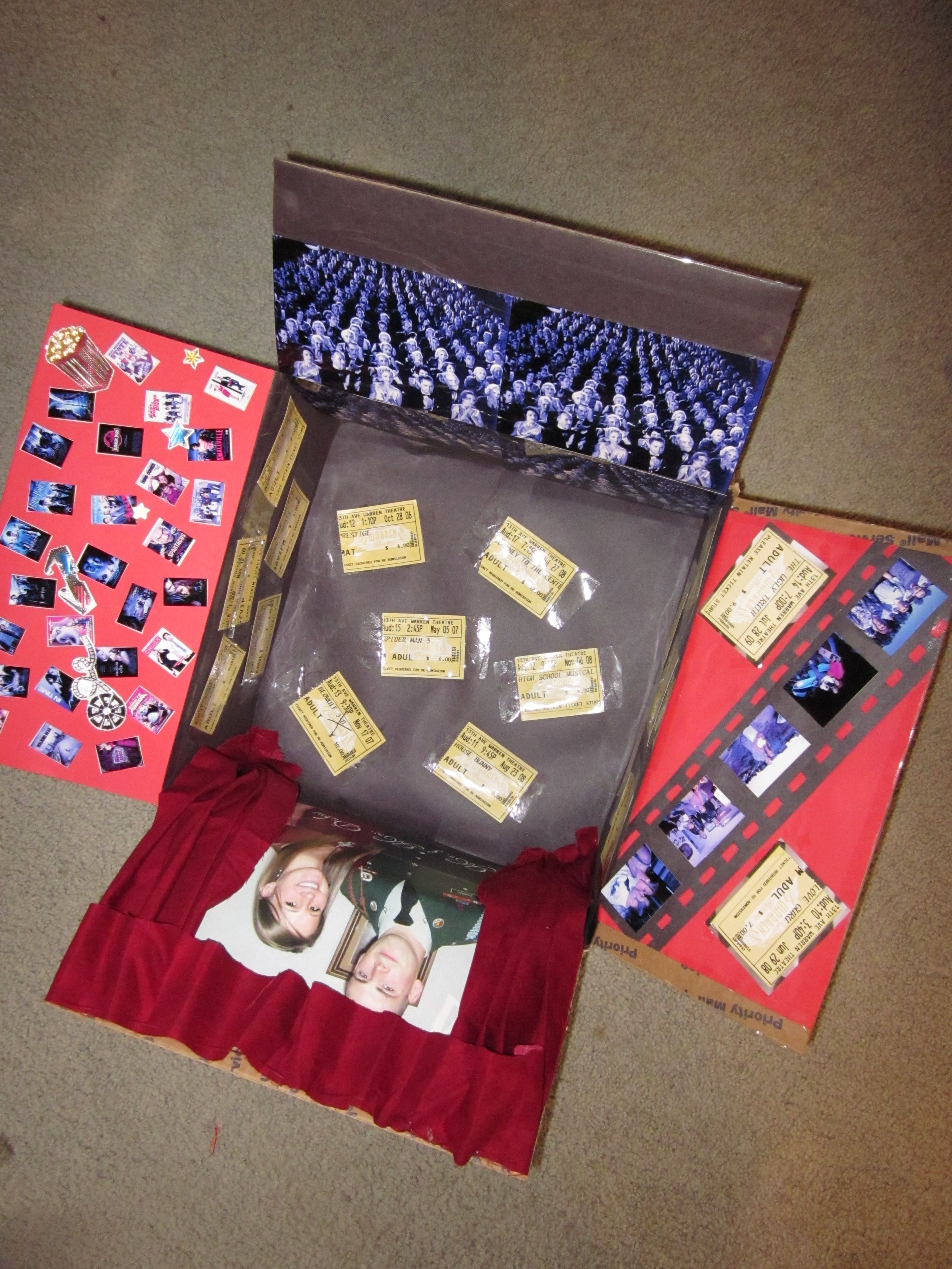 Movie Themed Care Package - Very cute. Put some favorite DVDs in their with some candy or popcorn and you have a perfect care package for a movie ...