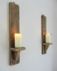 Pair of 50cm reclaimed pallet wood shabby chic wall sconce