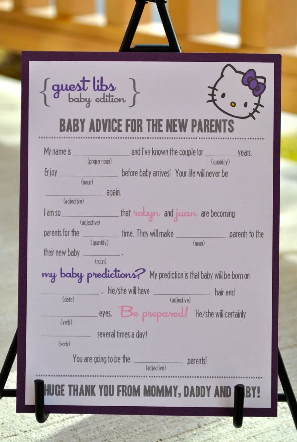 Mad Libs Baby Shower Edition Kitty Blushnotes