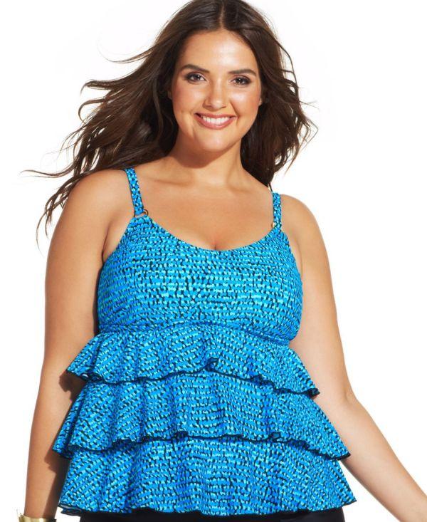 Plus Size Tiered Tankini Swimwear Tops