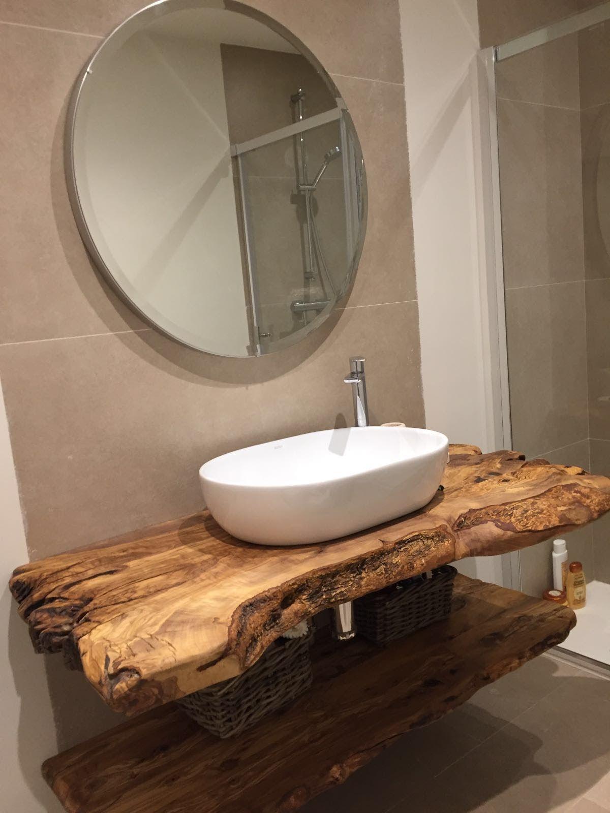 encimera de bao de madera de olivo  Bao  Pinterest