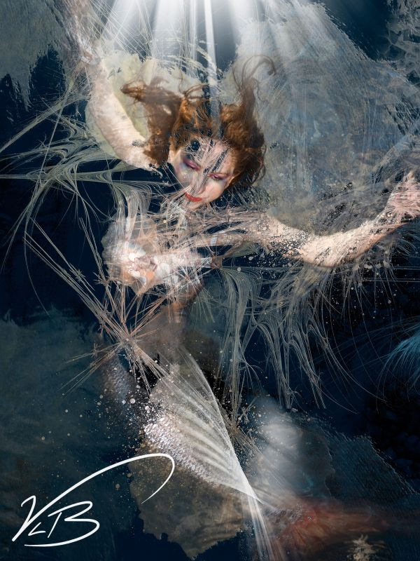 Mermaid Trapped Under Sea. Digital Art