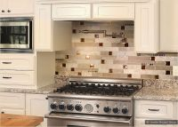 Brown Glass Travertine Mix Backsplash Tile Dark and light ...