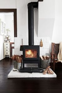 wood burning stove with white brick | Rustic Modern ...