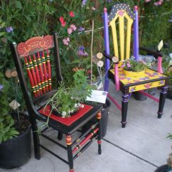 Funky Wooden Chairs Steel Glider Chair Unique Painted For Your Garden Outdoor
