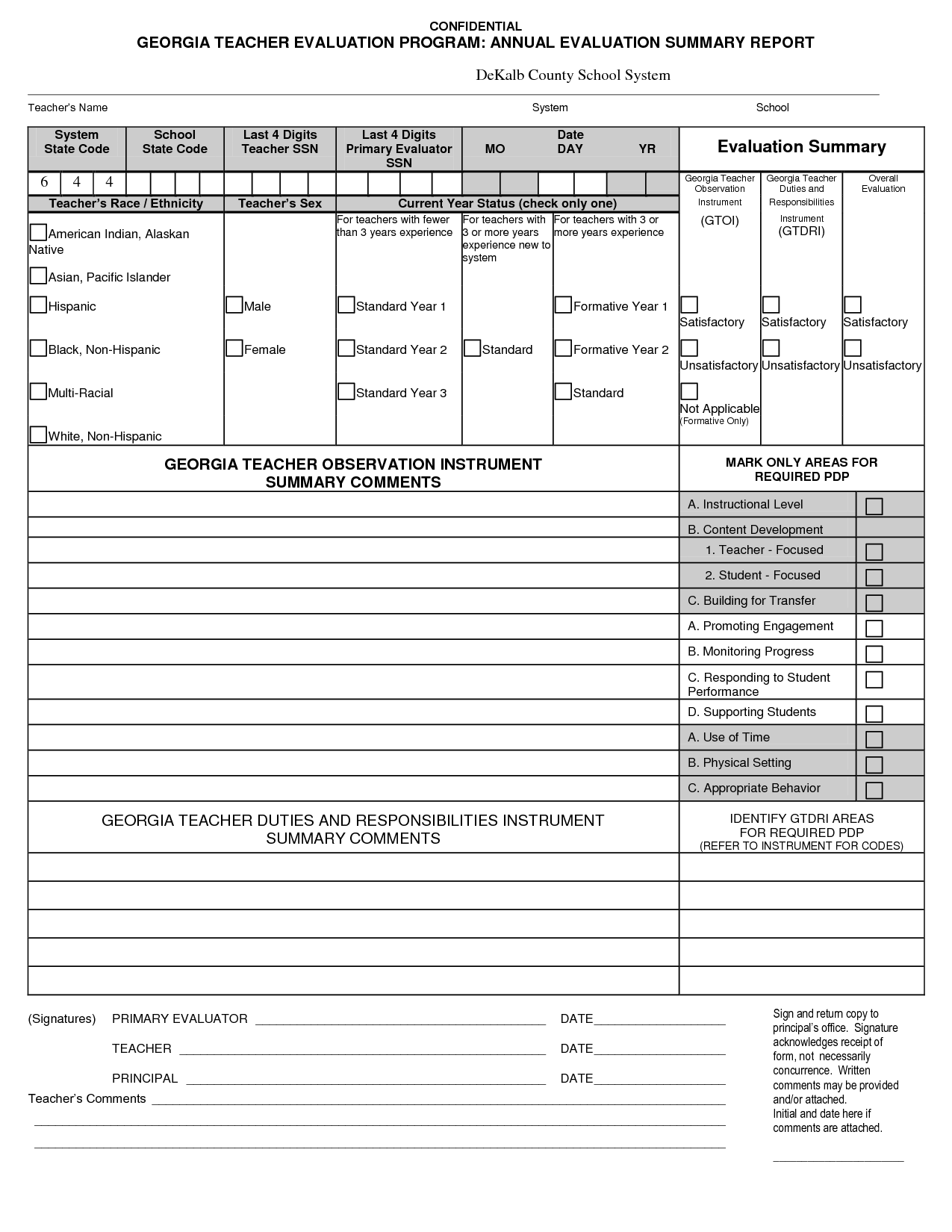 Teacher Evaluation Form Preschool Sample Resume Preschool