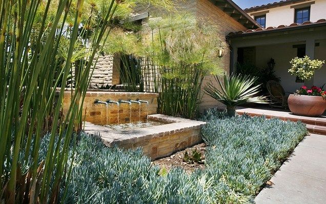 Mediterranean Fountain Southern California Landscaping Landscape