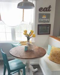 grey, yellow, teal modern kitchen and DIY breakfast nook ...