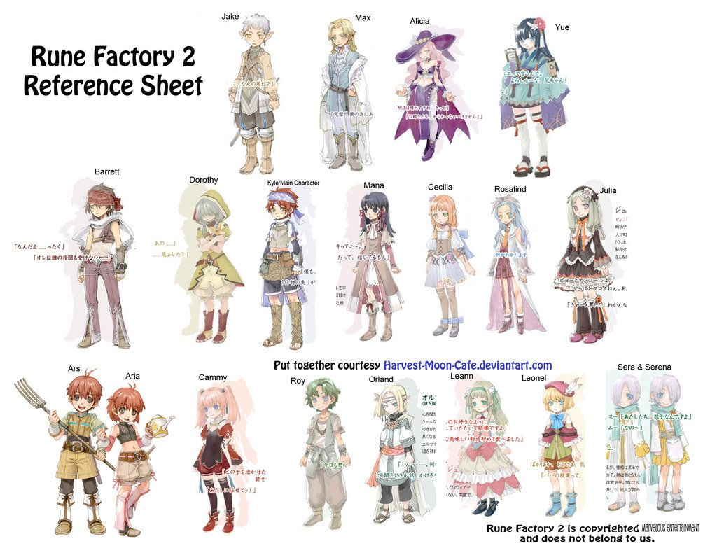 Rune Factory 2 Characters