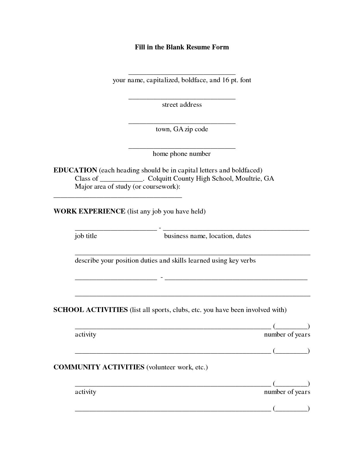 Fill In The Blank Resume PDF Resumecareer Info Fill