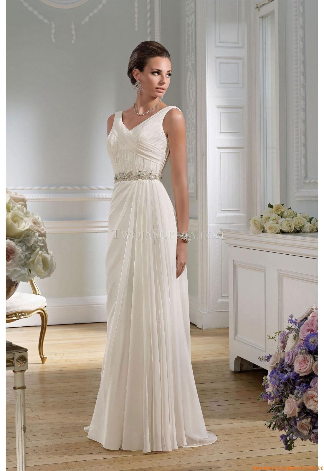 V Neck Schlicht Mollig Elegante Brautkleider 2014 Aus Chiffon