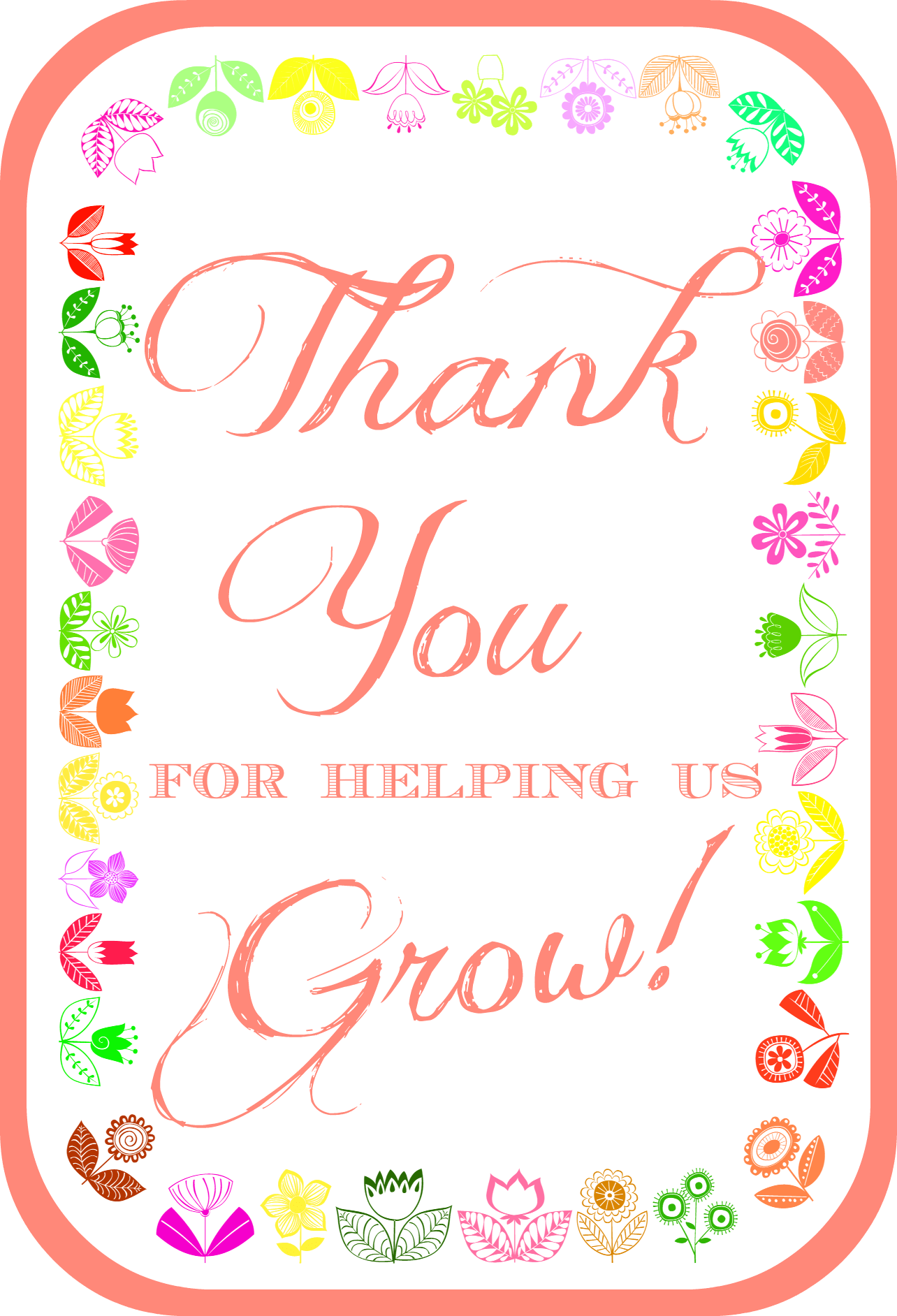Thank You For Helping Us Grow Teacher Appreciation Printable