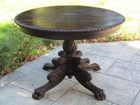 "Antique Round Claw Foot Feet Center Game Table 40""D"