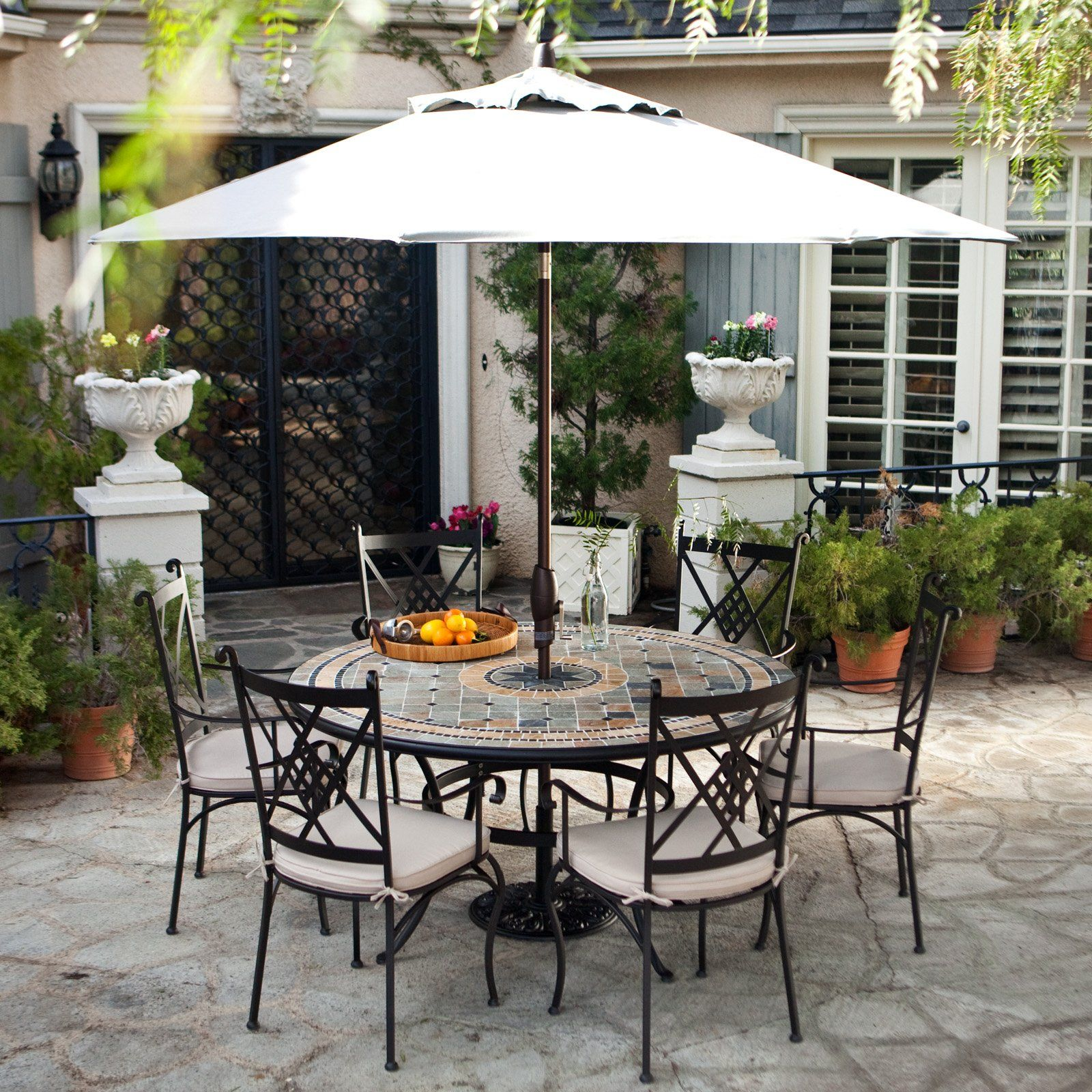 round patio chair white covers ikea palazetto barcelona 60 in mosaic dining set