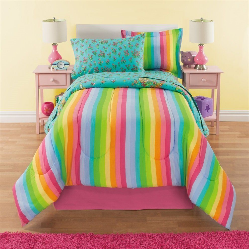 8 Piece Girls Rainbow Comforter Set Full, Unicorn