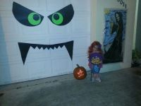 Our DIY Boogie Monster Halloween decoration on our garage ...