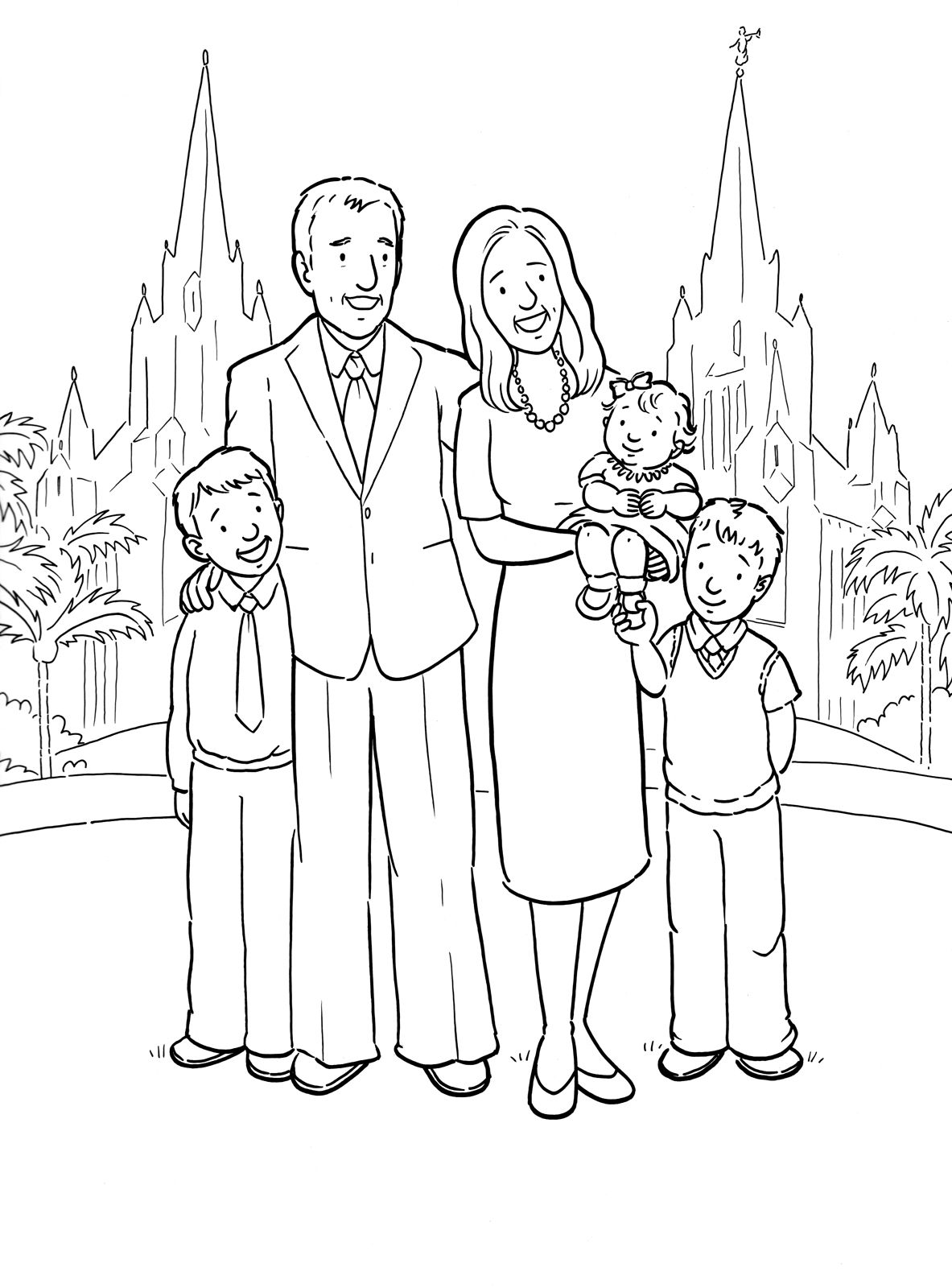 A happy family at the San Diego Temple. A Primary coloring