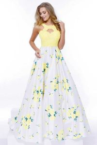 Yellow Floral Design Embellished Prom Dress. https://www ...