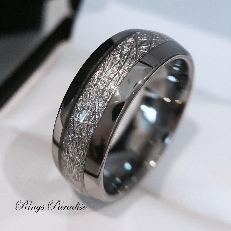 Mens Tungsten Wedding Band Meteorite Inlay Ring His