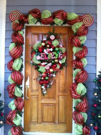 Front Door Decorations, with floral mesh ribbon