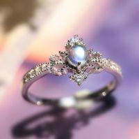 unique desgner art deco blue moonstone sterling silver ...