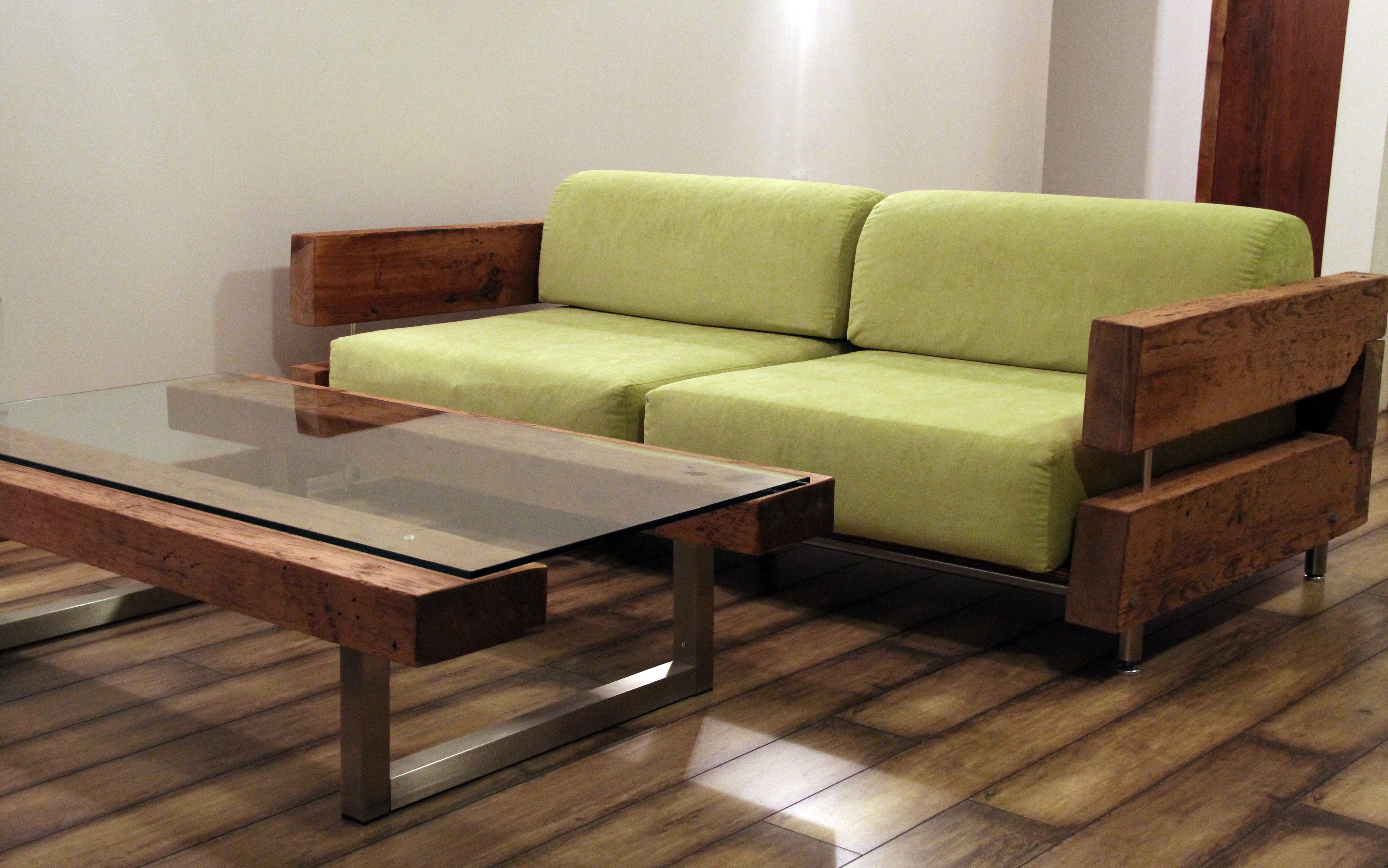 sofa tables pinterest floating in small living room reclaimed wood couch and coffee table by ticino design www