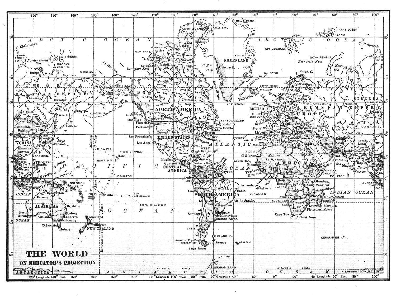 Black White World Map Printable File Instant Download Large Vintage