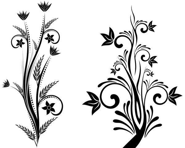 simple flower design black