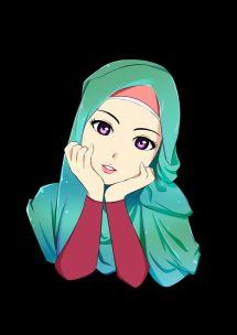 Anime Girl Green Hijab Exploring Mars