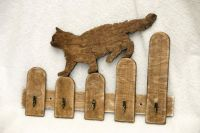 Handmade cat shaped wooden key holder, hooks, wall mounted ...