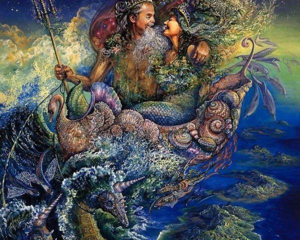 King Neptune & Princess Mermaid Artist Josephine Wall