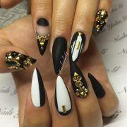 matte black white gold stones stiletto