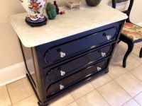 DIY dresser makeover. Shiny black paint with carrera ...
