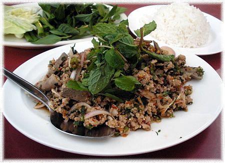 Cucina Thailandese insalata di carne tritata Laab o Larb o Laap  Recepten Thai  Pinterest