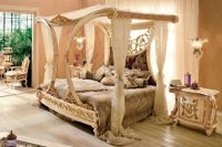 Beautiful Royal Golden Cleopatra Canopy Bed Hand Carved