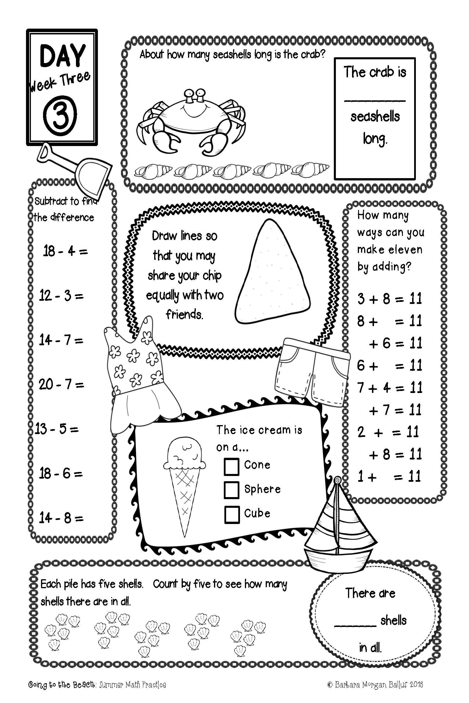 End of the Year First Grade Summer Packet Review CC & TEKS