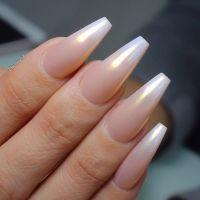 Pearl Ombre Long Coffin Nails. So pretty! Love Love Love # ...