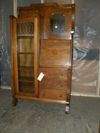 Antique oak drop front secretary desk side by side ...