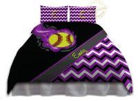 Softball Comforter Set, Softball Bedding, Purple & Black ...