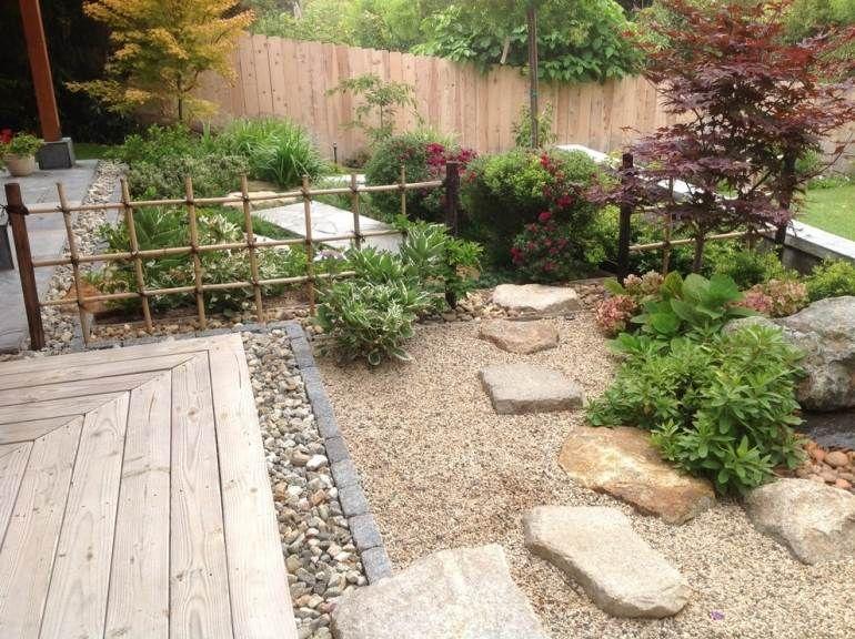 Steingarten Anlegen Vorgarten Gestalten Japanisch Zen Kies Koi