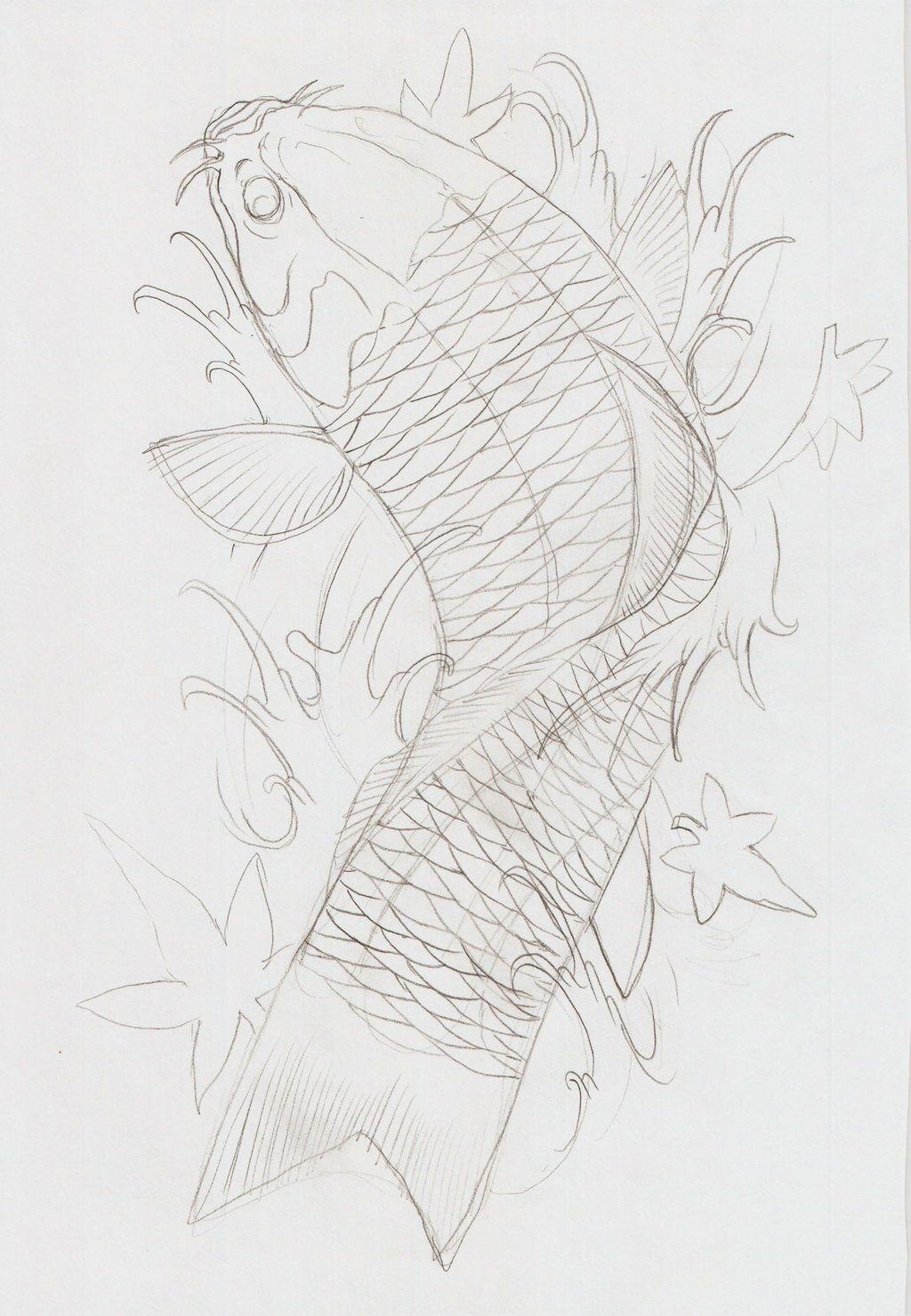 Koi Fish Tattoos Outline Koi Fish Viii Outline By Eltri