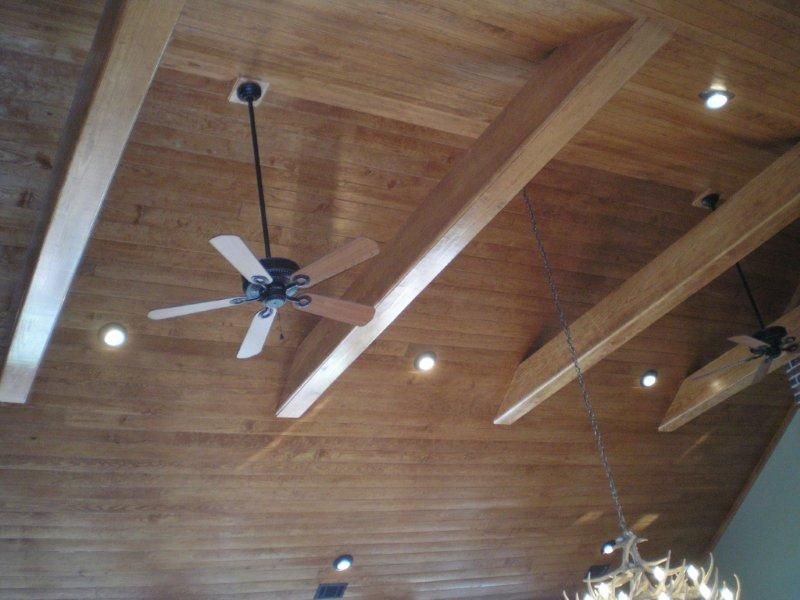 1x4 buttboard ceiling treatment with beams, cathedral