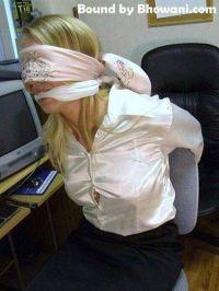 Scarf silk satin bondage gagged bound blindfold ...
